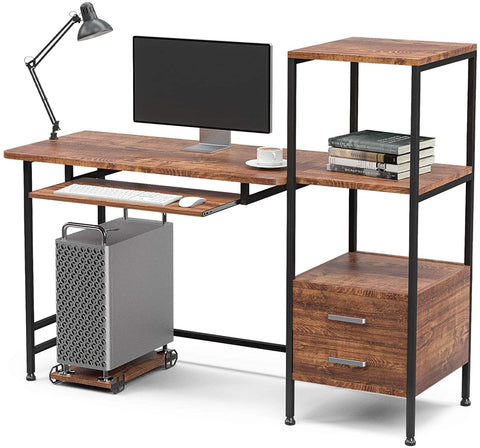 """Mecor Study Writing Computer Desk 55"""" with Drawers/Keyboard Tray/Storage Shelves, Modern Simple Style PC Desk Laptop Study Table Workstation for Home Office (Walnut Brown)"""