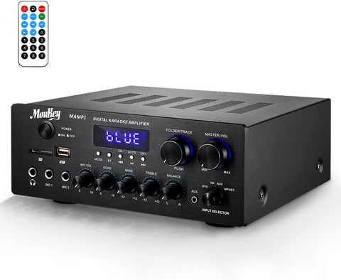 Moukey Bluetooth Power Amplifier System - 220W Dual Channel Sound Audio Stereo Receiver w/USB, SD, AUX, MIC in w/Echo, Radio, LED - for Home Theater Entertainment via RCA, Studio Use - MAMP1