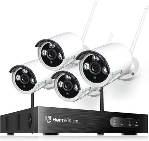 HeimVision HM241 1080P Wireless Security Camera System, 8CH NVR 4Pcs Home Outdoor Wi-Fi Surveillance Camera with Night Vision, Waterproof, Motion Alert, Remote Access, No Hard Disk
