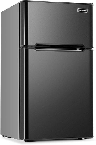 Euhomy Mini Fridge with Freezer, 3.2 Cu.Ft Compact Refrigerator with freezer, 2 Door Mini Fridge with freezer, Upright for Dorm, Bedroom, Office, Apartment- Food Storage or Drink Beer
