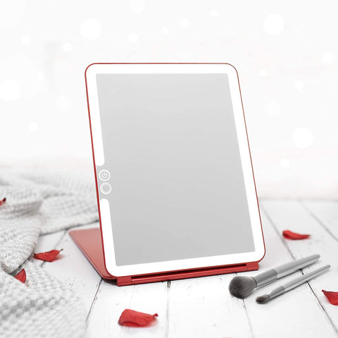 LUNA London Eclipse LED Lighted Travel Vanity Makeup Mirror   3 Colour Light, Compact, Portable, Lighted, Rechargeable, Illuminated Mirror   Perfect for Travel, Makeup & Beauty Needs   Scarlet Red