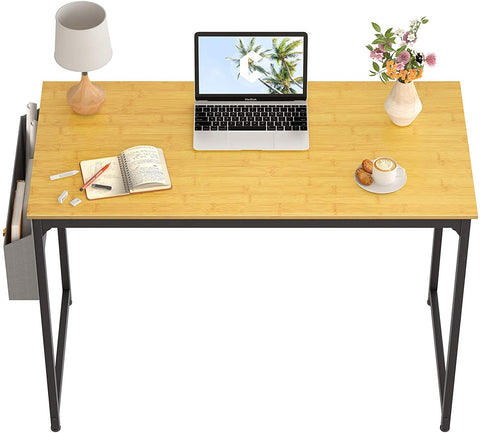 """CubiCubi Study Computer Desk 40"""" Home Office Writing Small Desk, Modern Simple Style PC Table, Black Metal Frame, Bamboo"""
