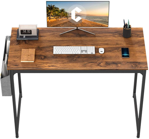 """CubiCubi Study Computer Desk 40"""" Home Office Writing Small Desk, Modern Simple Style PC Table, Black Metal Frame, Deep Brown"""