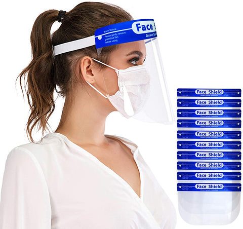 Safety Face Shields 10 Pack, Protective Face Shield Mask with Clear Wide Visor, Lightweight Transparent Dustproof Windproof Full Face Shield, Elastic Band for Women Men with 2 Protective Films