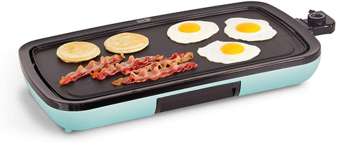 DASH DEG200GBAQ01 Everyday Nonstick Electric Griddle for Pancakes, Burgers, Quesadillas, Eggs & other on the go Breakfast, Lunch & Snacks with Drip Tray + Included Recipe Book, 20in