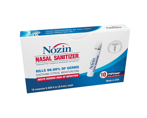 Nozin Nasal Sanitizer Antiseptic Popswab Ampules 10ct Pack | Kills 99.99% of Germs | Lasts Up To 12 Hours | Alcohol Based 62%