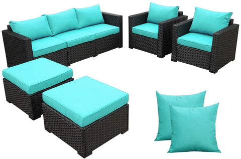 Rattaner Outdoor Wicker Furniture Couch Set 5 Pieces, Patio Furniture Sectional Sofa with Turquoise Cushions and Furniture Covers