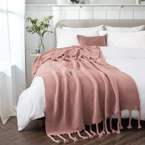 """Revdomfly Apricot Throw Blanket Knitted Throw Blanket with Fringe Tassels Warm Cozy Woven Blankets for Couch Bed Chair, 51.2"""" x 67"""""""
