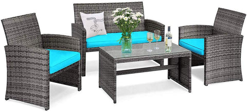 Goplus Rattan Furniture Set, 4 Pieces Outdoor Wicker Conversation Sofa Set with Cushions and Table for Garden Yard Patio Balcony (Blue)