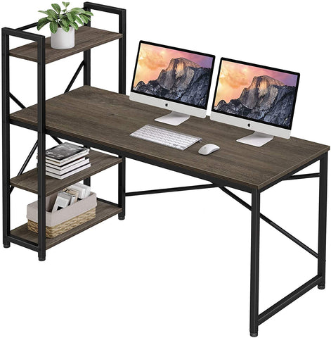 Homemaxs Computer Desk with 4 Tiers Adjustable Storage Shelves, 55 Inches Home Office Desks for Small Space, Workstation, Spacious Writing Table with Modern Simple Style for Students, Study, Drawing
