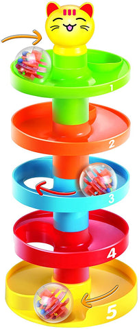 5 Layer Ball Drop and Roll Swirling Tower for Baby and Toddler Development Educational Toys | Stack, Drop and Go Ball Ramp Toy Set Includes 3 Spinning Acrylic Activity Balls with Colorful Beads