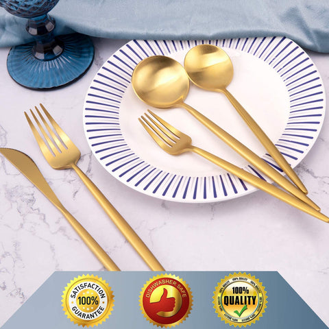 DEACORY Flatware 20 Piece Silverware Set 18/10 Stainless Steel Matte Gold Wedding Housewarming Event Party Dishwasher Safe Service for 4