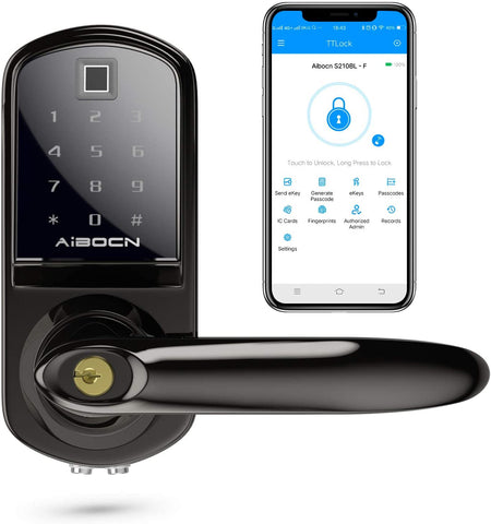 Aibocn Fingerprint Smart Lock, Keyless Entry Door Lock with Bluetooth, Touchscreen Keypad Deadbolt Lock with Fingerprint, IC Card, Code, eKey, Easy to Install for Home Hotel Apartment, Right Handle