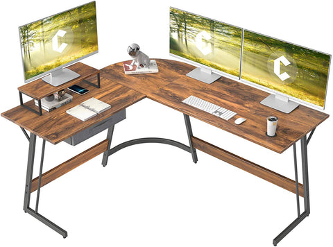 """CubiCubi Modern L-Shaped Desk Computer Corner Desk, 59.1"""" Home Office Writing Study Workstation with Small Table and Drawers, Space Saving, Easy to Assemble"""