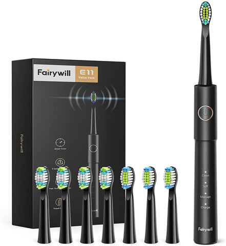 Electric Toothbrush, Fairywill Sonic Toothbrush for Adults with 8 Dupont Bursh Heads, Ultra Cleaning with 40,000 VPM 5 Modes 2 Hours Charging for 30 Days Use, E11 Black Rechargeable Power Toothbrush