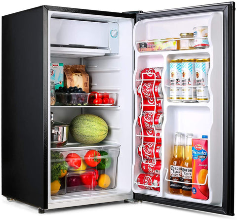 TACKLIFE Compact Refrigerator, 3.2 Cu Ft Mini Fridge with Freezer, Energy Star Rating, Low noise, for Bedroom Office or Dorm with Adjustable Temperature, Removable Glass Shelves- MPBFR90L
