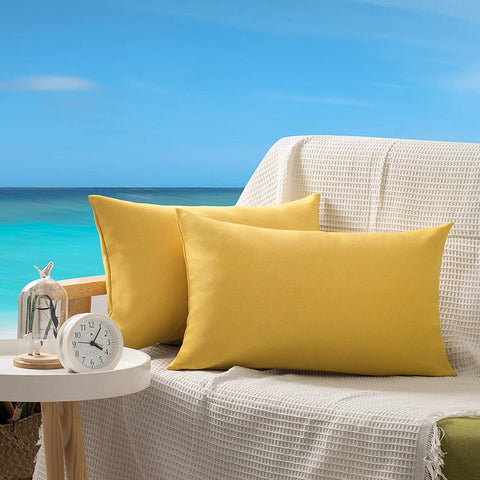 OHCOZZY Pack of 2 Outdoor Pillow Covers, Waterproof Decorative Rectangle Throw Cushion Case Pillowcase for Garden Patio Furniture 12x20 Inch Yellow
