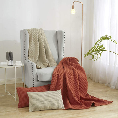 """PHF 100% Cotton Waffle Weave Blanket Queen Size 90"""" x 90"""" for Home Decorations - Soft Comfortable Breathable and Moisture Absorption for All Season - Perfect for Couch Bed Sofa Orange"""