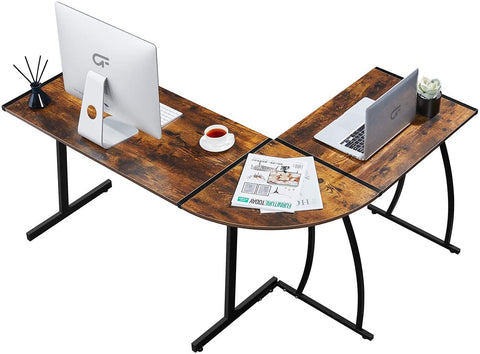 GreenForest L Shaped Gaming Computer Desk 58.1'',L-Shape Corner Gaming Table,Writing Studying PC Laptop Workstation 3-Piece for Home Office Bedroom Living Room,Rustic Brown