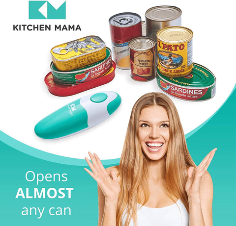 Electric Can Opener: Kitchen Mama Portable Battery Powered Automatic Smooth Edge Can Opener, Ergonomic Can Openers, One Press to Open Can for Seniors, Chef, and Daily Cooking