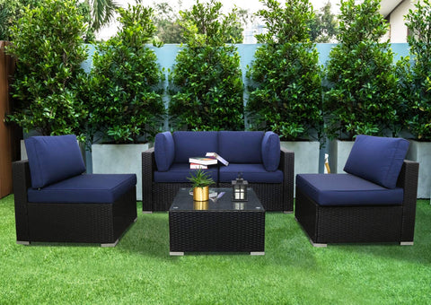 Excited Work 5pcs Outdoor Patio Furniture Set, Wicker Sofa Chairs PE Rattan Thick Cushions Couch with Tea Table and Washable Cushion (Dark Blue)