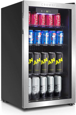Crownful Beverage Refrigerator and Cooler, Holds up to 118-Can Mini Fridge with Adjustable Shelves, Stainless Steel Frame & Glass Door with Handle, Best for Home or Office,UL Listed