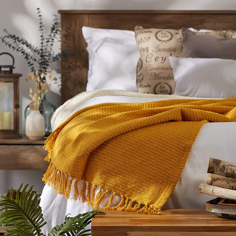 DII Solid Ribbed Cotton Collection Throw Blanket, 50x60, Honey Gold