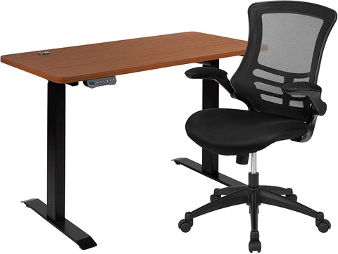 """Flash Furniture 48""""W x 24""""D Mahogany Electric Height Adjustable Stand Up Desk with Black Mesh Swivel Ergonomic Task Office Chair"""
