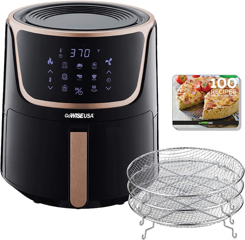 GoWISE USA GW22955 7-Quart Electric Air Fryer with Dehydrator & 3 Stackable Racks, Digital Touchscreen with 8 Functions + Recipes, 7.0-Qt