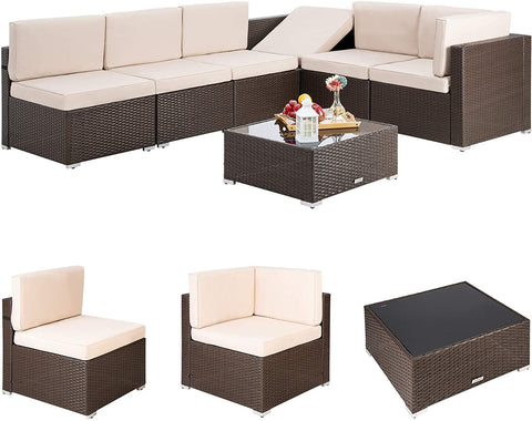 Pamapic 7 Pieces Outdoor Sectional, Wicker Patio Sectional Sofa Conversation Set, Rattan Sofa with Coffee Table and Washable Cushions Covers, Brown Rattan (Beige Cushions)