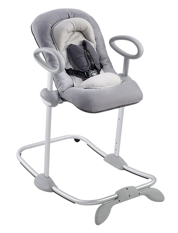 BEABA Up and Down Portable Baby Rocker   4 Height Levels and 3 Reclining Positions with One Click  Soft Padding Seat   Gray