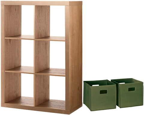 Better Homes and Gardens Home Office Furniture Cube Organizer Storage Bookcase Bookshelf and Durable Storage Bin Bundle, 6-Cube, Natural