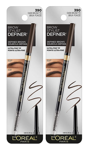L'Oreal Paris Makeup Brow Stylist Definer Waterproof Eyebrow Pencil, Ultra-Fine Mechanical Pencil, Draws Tiny Brow Hairs & Fills in Sparse Areas & Gaps, Dark Brunette, 0.11 Ounce (Pack of 2)