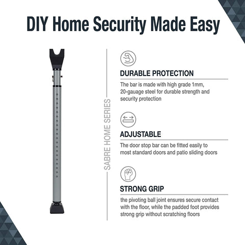SABRE HS-DSB Adjustable 2-in-1 Home Bar, Strong Scratch-Proof Grip, Removable Door Knob Top Sliding Doors, Portable & Easy to Use for Apt & Travel Security