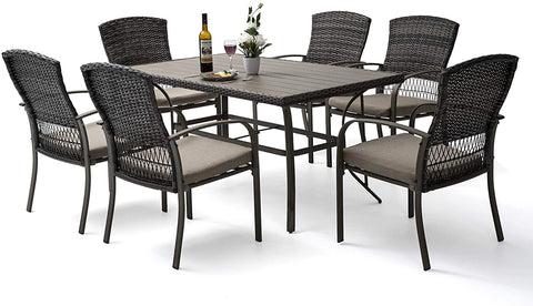 Pamapic 7 Piece Patio Dining Set, Outdoor Dining Table Set, Patio Wicker Furniture Set for Backyard Garden Deck Poolside/Iron Slats Table Top, Removable Cushions(Beige)