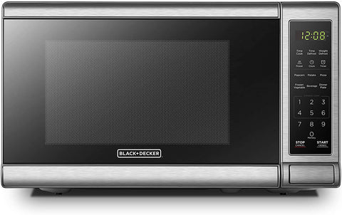 BLACK+DECKER EM720CB7 Digital Microwave Oven with Turntable Push-Button Door, Child Safety Lock,700W, Stainless Steel, 0.7 Cu.ft
