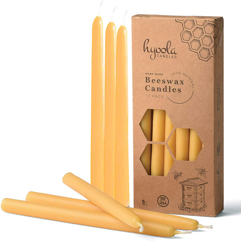 Hyoola 9 Inch Beeswax Taper Candles 12 Pack – Handmade, All Natural, 100% Pure Unscented Bee Wax Candle - Tall, Decorative, Golden Yellow – 5 Hour Burn Time