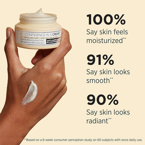 IT Cosmetics Confidence in a Cream - Anti-Aging Facial Moisturizer - Reduces the Look of Wrinkles & Pores, Visibly Brightens Skin - With Hyaluronic Acid & Collagen - 2.0 fl oz