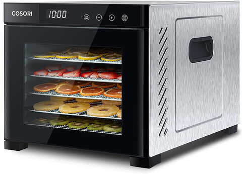 COSORI Food Dehydrator Machine (50 Free Recipes), Stainless Steel Dryer for Fruit, Meat Dog Treats, with Timer and Temperature, Control, 6 Trays, ETL Listed, Beef Jerky, Herbs, CP267-FD