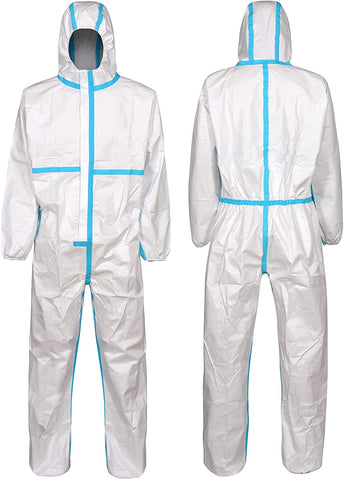 Clylmedical Disposable Protective Coveralls Full Suit Isolation Gown L White