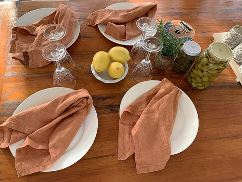 Eight Owls Linen Napkins –100% French Flax – Stonewashed Pure Linen Cloth Napkins - Size 18 Inch x 18 Inch – Set of 4