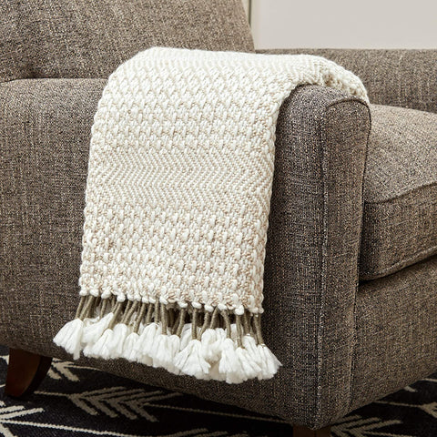 """Amazon Brand – Rivet Modern Hand-Woven Stripe Fringe Throw Blanket, 50"""" x 60"""", Tan and Ivory with Taupe"""