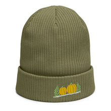 Load image into Gallery viewer, Organic ribbed beanie | Pumpkins embroidered | Thanksgiving 2220