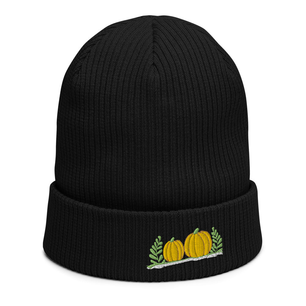 Organic ribbed beanie | Pumpkins embroidered | Thanksgiving 2220
