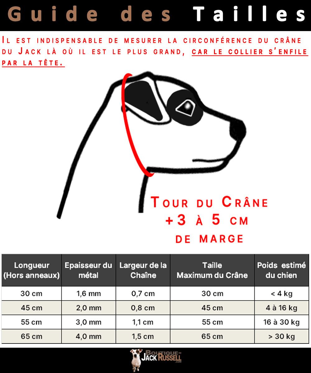 Guide Taille Collier Chaine Milo   Boutique Jack Russell