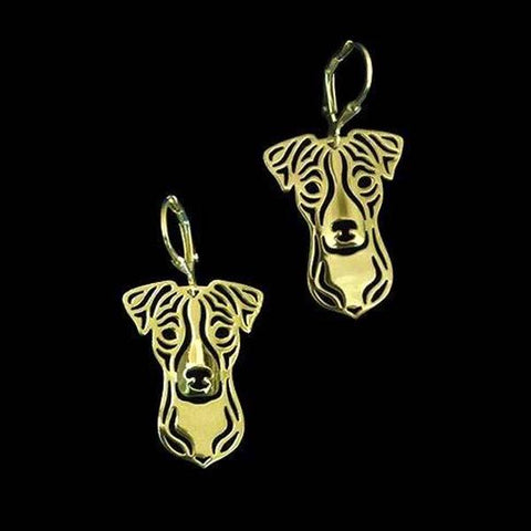 Boucles d'oreilles Jack Russell<br>Terrier fermées Boucle d oreille Boutique Jack Russell Plaqué Or