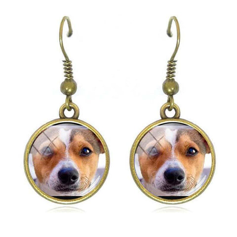 Boucles d'oreilles Jack Russell<br>ronde ouvertes Boucles d oreilles Boutique Jack Russell