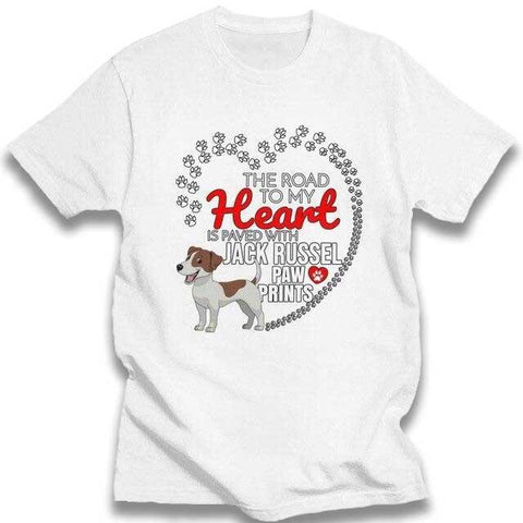 T-Shirt Jack Russell<br>The Road To My Heart T-Shirt Boutique Jack Russell Blanc XL