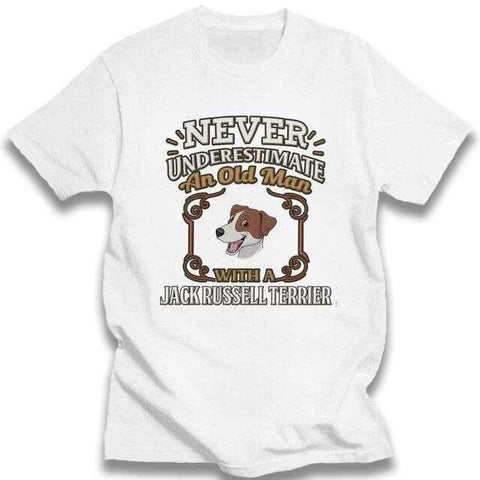 T-shirt Jack Russell<br>Never Under Estimate T-Shirt Boutique Jack Russell Blanc XXXL