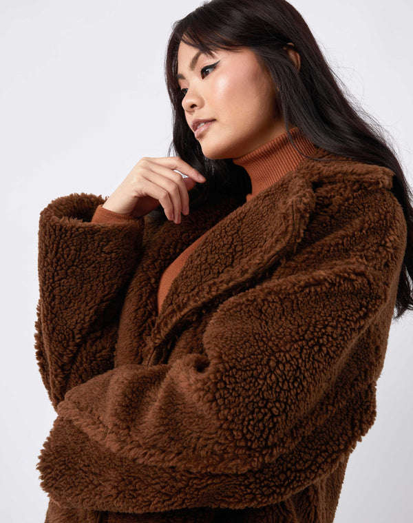 Model looks away from camera with her arm by her face in a cropped image of gigi brown longline teddy coat